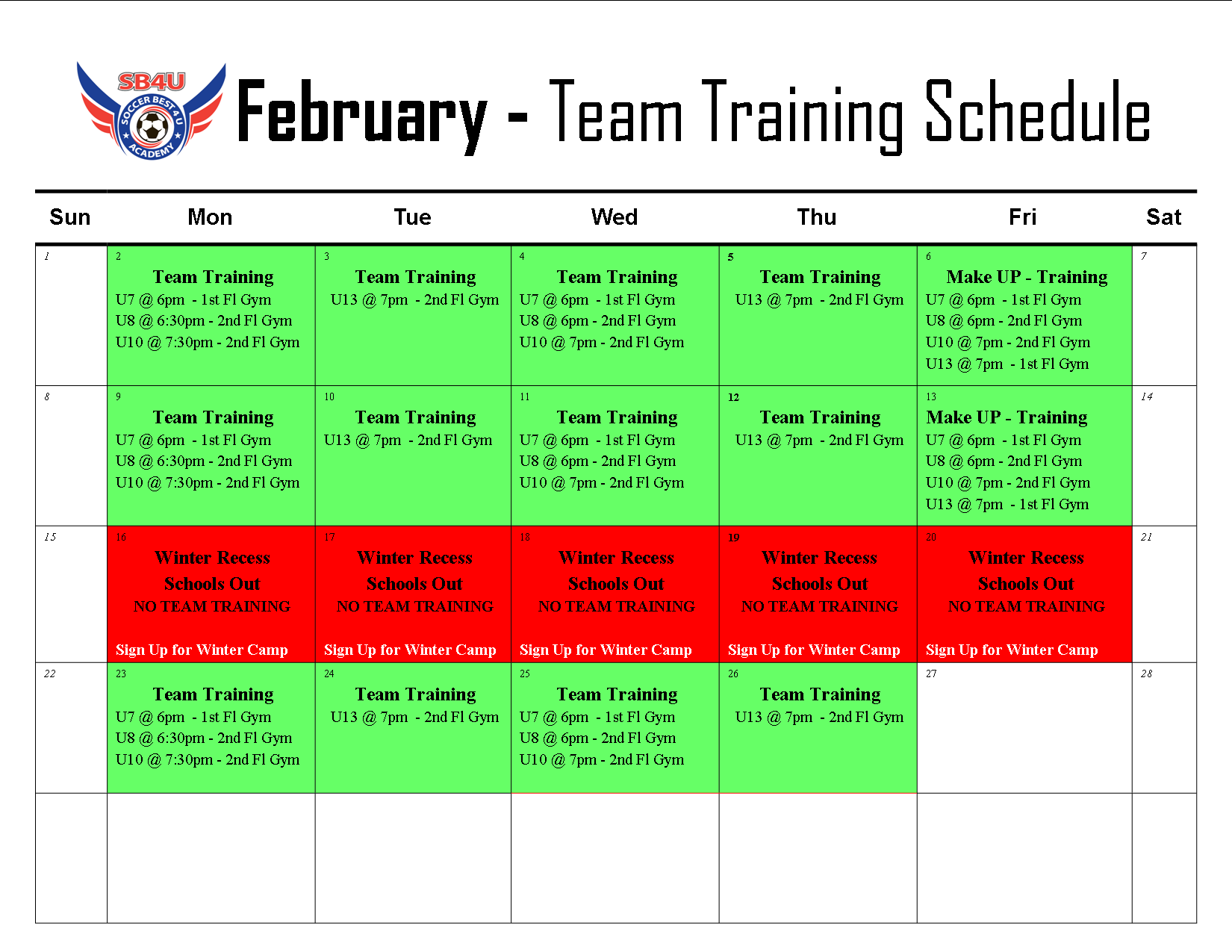 February Team Training Calendar - Updated