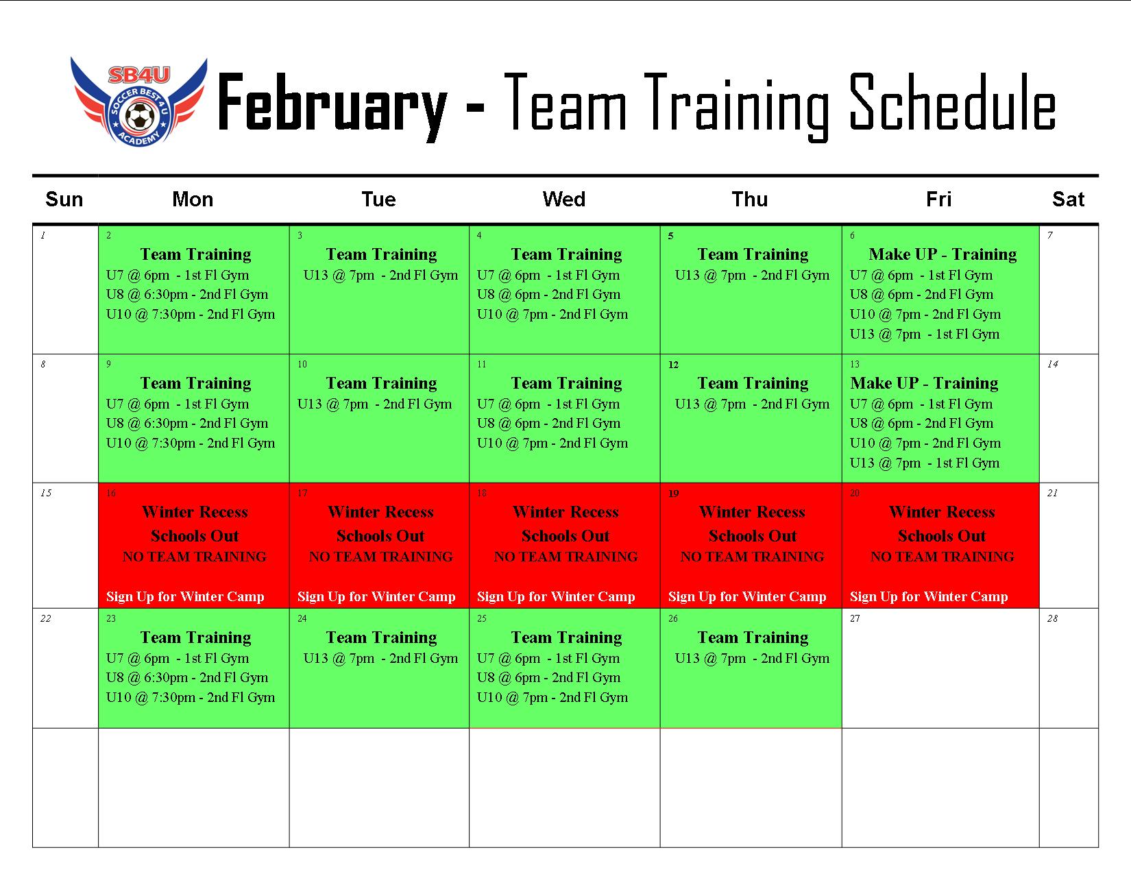 February Team Training Calendar - Updated