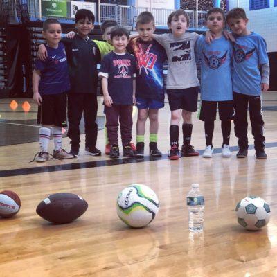winter soccer camp friends
