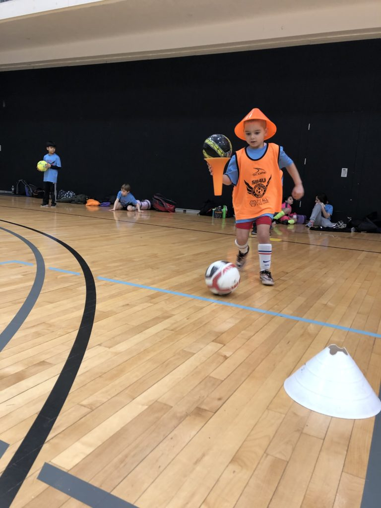 winter soccer camp fun training